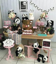 at home party ideas Panda Themed Party, Panda Birthday Party, Panda Party, Birthday Wishes Funny, Bear Party, Baby Birthday, Pink Panda, Panda Love, Cute Panda