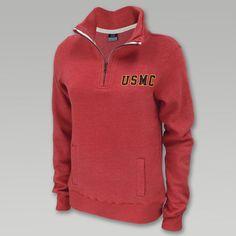 Usmc Ladies 1/4 Zip Sweatshirt