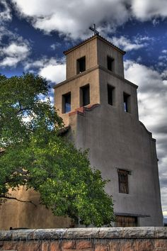Our Lady of Guadalupe Church in Santa Fe, NM. This structure dates from the 17th century