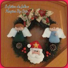 Corona ángeles y papa Noel Navidad