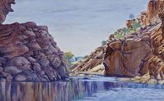 West Macdonnell Ranges, Central Australia, Northern Territory - by Albert Namatjira Aboriginal Man, Aboriginal History, Australian Art, Natural Forms, Art Auction, View Image, Worlds Largest, Graphic Art, Illustration