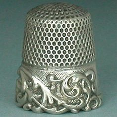 Antique Louis XV Band Sterling Silver Thimble Ketcham & McDougall * Circa 1890s