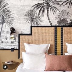 How to get the Parisian Hotel Bedroom Look We're Loving - hotel doisy woven headboard and black and white tropical mural wallpaper - Tropical Home Decor, Tropical Houses, Tropical Colors, Tropical Furniture, Tropical Interior, Tropical Wallpaper, Of Wallpaper, Casa Hotel, Estilo Tropical