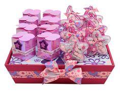 Despachador de dulces para decorar barra de dulces color rosa. Manualidades