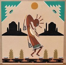 "KOKOPELLI Navajo Sand Painting SIGNED A. Watchman 16"" x 16"""
