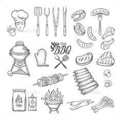 BBQ Feast Party Set by setory BBQ Feast Party Set,vintage engraving style, Isolated vector illustration, hand drawn elements. Meat Drawing, Bullet Art, Doodles, Doodle Lettering, Bbq Ribs, Free Graphics, Graphic Illustration, Illustrations, Label Design