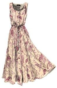 French toile print ankle length dress with A-line skirt and gathered waist - using a floral print in dusty rose or pale pink
