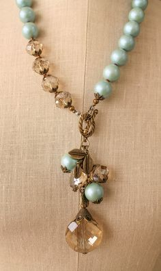 CRYSTAL PENDANT CHOKER LENGTH NECKLACE WITH BLUE PEARLS: LaurieAnna's Vintage Home