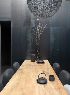 modern japanese - I love the contrast of the wood with the grey.