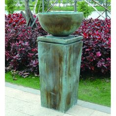 Features Material: Stone Design: Urn Manufacture: A&B Homes Product Details Fountain Design: Sculptural Fountain Location: Outdoor/Garden Weight & Dimen