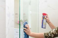 This post will show you how to keep your shower doors clean for weeks at a time. If you've been wondering how to remove soap scum and water stains from your shower doors then these cleaning t… Household Cleaning Tips, House Cleaning Tips, Cleaning Hacks, Cleaning Products, Clean Shower Doors, Glass Shower Doors, Shower Walls, Wd 40 Spray, Wd 40 Uses