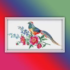 Pheasant Cross Stitch Pattern 1 Instant PDF Download - Pheasant Watercolor Cross Stitch Pattern - Bird Cross Stitch Pattern Booby Bird, Extra Fabric, Watercolor Bird, Color Change, Cross Stitch Patterns, Free Images, Pdf, Symbols, Pheasant