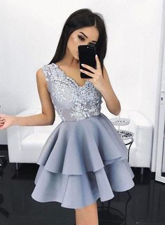 "promdress-lovedress:  ""  blue lace short prom dress  shop here  """