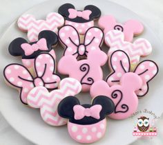Minnie Mouse Cookies, Pink Bow Cookies, Mouse cookies, chevron cookies