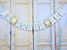 Oh Happy Day Banner with Hearts, Pale Aqua and Gold Banner, Wedding Decoration, Bridal Shower Banner, Inspirational Sign, Wedding Banner by PaperEtcStudio on Etsy