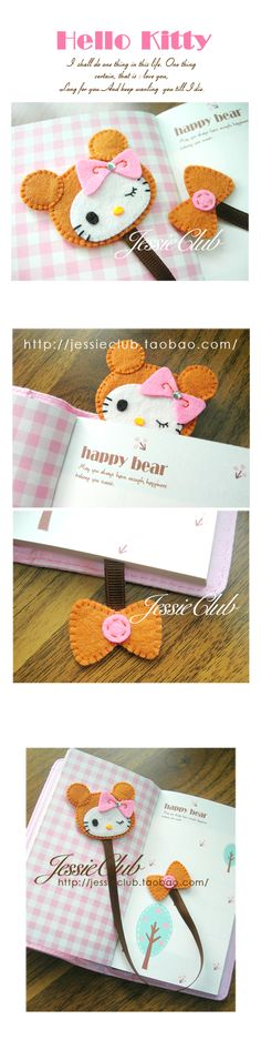 .hello kitty felt bookmark