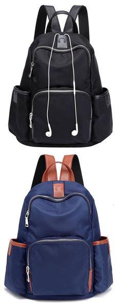 Fashion Oxford Splicing PU Simple School Backpack Headphones Hole Girl's Waterproof Travel Backpack for big sale! #Backpack #bag #school #college