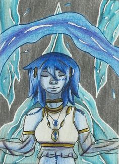 An ACEO for another artist on fb which shows her oc Saphira :3  #oc #fanart #blue #water #ice #magic #mage #watermage #aceo