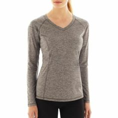 Xersion Long-Sleeve Crewneck Melange Tee - JCPenney