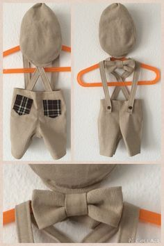 newborn Photo props // boy // linen trousers with suspenders and gingham pockets // necktie // flapcap hat