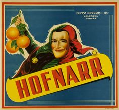 Spain Jester Clown Orange Citrus Crate Label Art Print - Circus and Carnivals Fruit Crate Label Art Prints - Fruit and Vegetable Crate Label Art Prints Valencia, Orange Crate Labels, Vegetable Crates, Printing Labels, Vintage Labels, Vintage Advertisements, Spanish, Art Prints, Fruit
