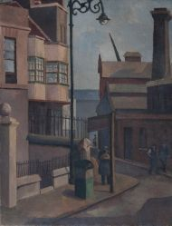 """""""With it being I thought I'd indulge myself & post some of my favourite images from all the ELG artists. This is """"Old Houses, Bow"""" by Grace Oscroft from London Art, East London, Bow Art, London Painting, Cityscape Art, Indie Art, A Level Art, Gcse Art, Illustrations"""