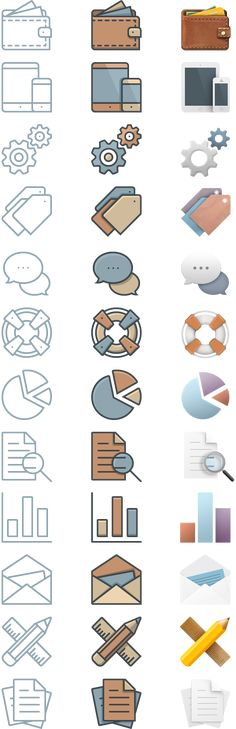 36 Free Business Icons Perfected In Three Unique Styles And Sizes | We have created a set of 12 free business icons, each of which come in 3 different styles and 3 different pixel perfect sizes—256px, 128px, and 64px. The download also includes editable vector versions of the line style versions. These will work great anywhere you choose to use them, but they were made specifically with our theme's homepage blurbs in mind.