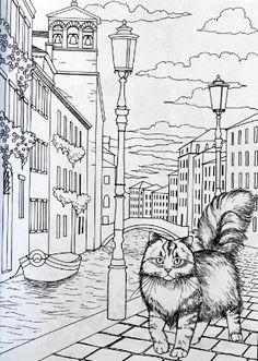 Koty w Wenecji: kolorowanka dla dorosłych