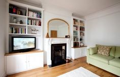Based in West London, Creative Woodwork specialises in the design and installation of ing bespoke alcove units, shelving and storage cupboards Living Room Update, Rugs In Living Room, Home And Living, Living Room Designs, Living Room Furniture, Living Room Decor, Alcove Storage, Storage Ideas, Cottage Lounge