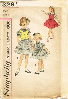 1950s Vintage Toddler Girls Dress Uncut 1959 Simplicity Sewing Pattern Size 3   eBay