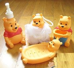 yellow set of 2 Winnie the Pooh Bathroom soap dish Lotion Bottle shower set Winnie The Pooh Nursery, Winne The Pooh, Winnie The Pooh Friends, Disney Winnie The Pooh, Baby Disney, Baby Annabell, Shower Set, Baby Shower, Pooh Bear