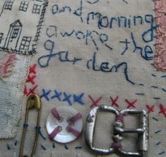 I love how she stitched found objects on too. Embroidered works - Jessie Chorley