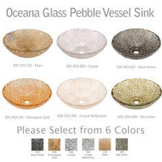 JSG Oceana 005 303 Xxx Designer Glass Pebble Bathroom Vessel Sink   Choose  Color