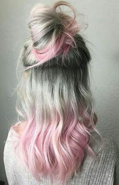 Silver and pink top knot