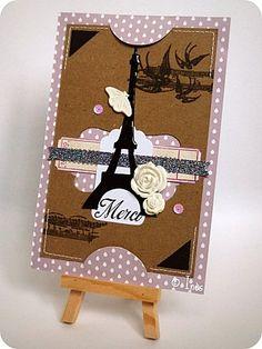 Romantic clean Eiffel Tower card / Carte Tour Eiffel romantique dans un style shabby clean / http://scrap-ines.over-blog.com