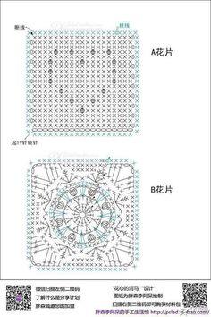 Crochet Chart, Crochet Motif, Crochet Patterns, Motifs Granny Square, Granny Pattern, Crochet Squares, Vintage Crochet, Garland, Diagram