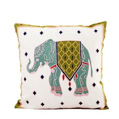 Elephant pattern Phoenix design Cotton art Throw Pillow Cover for Bed Sofa