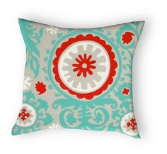 teal red gray pillow
