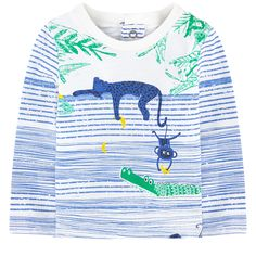 Cotton jersey  Pleasant to the touch Straight fit Crew neck Ribbed knit collar Long sleeves Snap buttons in the back Stripes Fancy print Logo patch at the back - $ 54