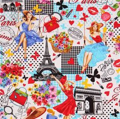 white 'Paris Pin-ups' flower butterfly fabric Timeless Treasures USA 2
