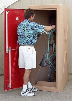 That guy!  Those shorts!  That shirt!  But really, outdoor vertical storage...?