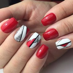 Trendy 60 Nail Art Pictures 2018 Trendy 60 Nail Art Pictures 2018 Tune in, we adore Ballet Slippers and Topless and Barefoot as much as any other person, however, there's just so much pale pink you put on your nails to the point that it feels dull. Red Nail Art, White Nail Art, Pretty Nail Art, Cool Nail Art, Red Manicure, Manicure E Pedicure, Red Nails, Color Nails, Nail Colors