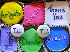 Thank You decorated Sugar Cookies by Cookies from Scratch will surely say Thanks in a special way. Cookie Gifts, Tin Gifts, Trippy Quotes, Thank You Writing, Cookies From Scratch, Business Gifts, Thank You Gifts, Love And Light, Creative Gifts