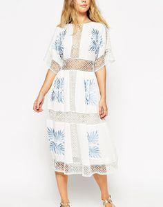 Image 3 ofASOS Premium Crochet Cutwork Midi Dress with Blue Embroidery