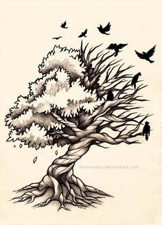 Life and Death Tree - Commission by dannii-jo tree tattoo Life and Death Tree - Commission by dannii-jo on DeviantArt Tattoo Life, Tattoo Tod, Life Death Tattoo, Side Tattoos, Body Art Tattoos, Dead Tree Tattoo, Willow Tree Tattoos, Tree Tattoo Designs, Tattoo Ideas