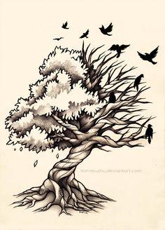 Vecteurs similaires à 126725478 Tree Hand drawn | M | Dessin arbre, Dessin et Tatouage arbre de vie