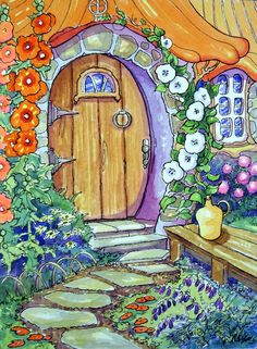Alida Akers' Storybook Cottage Series - We Came Across a Most Friendly Door Cute Cottage, Cottage Art, Cottage Ideas, Illustration Art, Illustrations, Storybook Cottage, Whimsical Art, Painting & Drawing, Watercolor Paintings