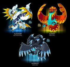 Birds of All Fathers by Darksilvania on DeviantArt Brock Pokemon, Pokemon Fake, Pokemon Fusion Art, Ash Pokemon, Pokemon Fan Art, Cool Pokemon, Pokemon Eeveelutions, Pokemon Pokedex, Tyrantrum Pokemon