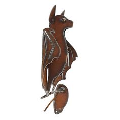 Metal Small Hanging Bat with Open Wings Sculpture