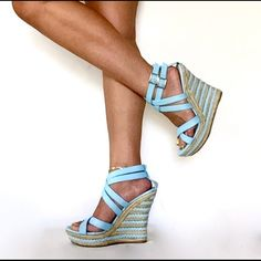 Sky blue Sky ocean blue colored 5 inch braided wedges, two side buckles. New with box-posh find HOST PICK Kiss & Tell Shoes